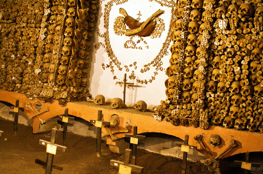 One of the rooms at the Capuchin Crypt, first stop in our Rome underground tour