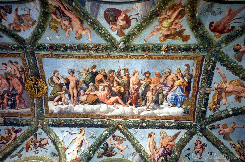 One of the beautiful frescoes by Raphael at Villa Farnesina in Trastevere