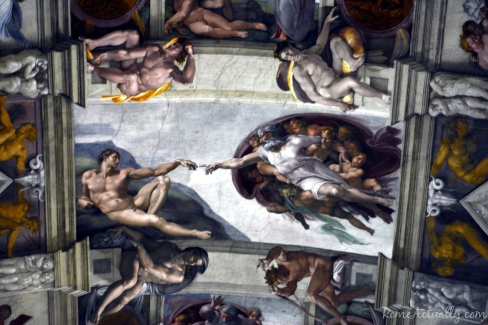 Detail of the ceiling of the Sistine Chapel by Michelangelo