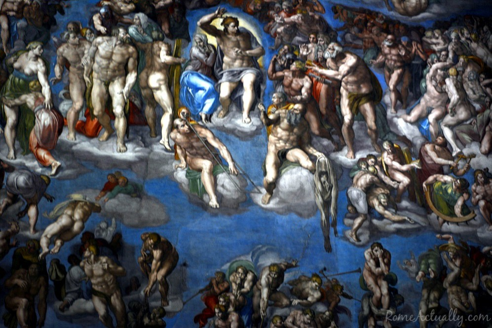 The main fresco of the Sistine Chapel, The Last Judgement, again by Michelangelo