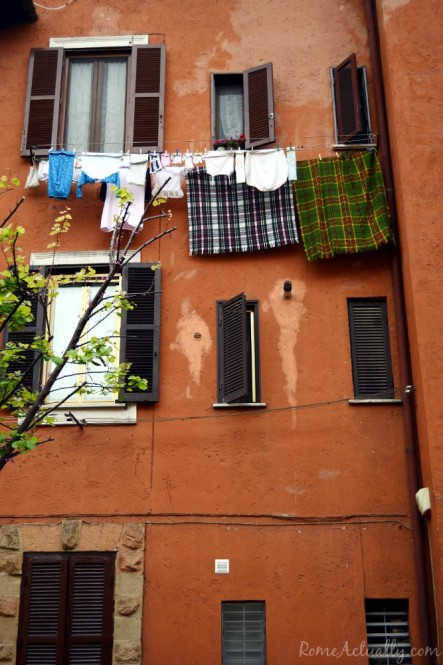 Laundry from the window, a typical Italian landscape