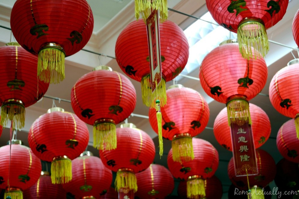Chinese red lanterns in Rome's Esquilino neighborhood