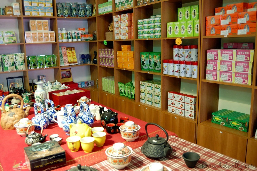 Tea sets, teas and herbal remedies in a Chinese medicine shop