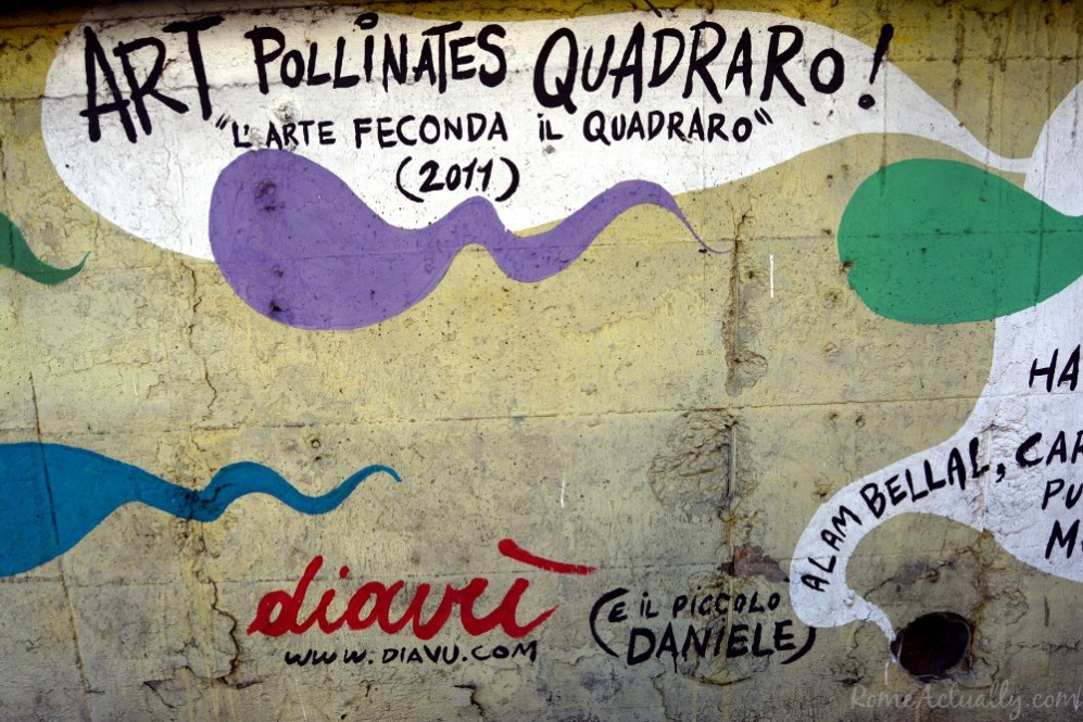 """Art pollinates Quadraro"", mural welcoming visitors to Rome's street art neighborhood Quadraro"